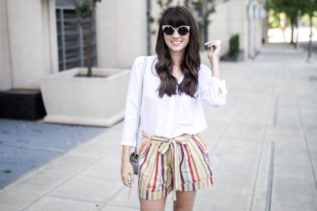 anthropologie striped shorts retro