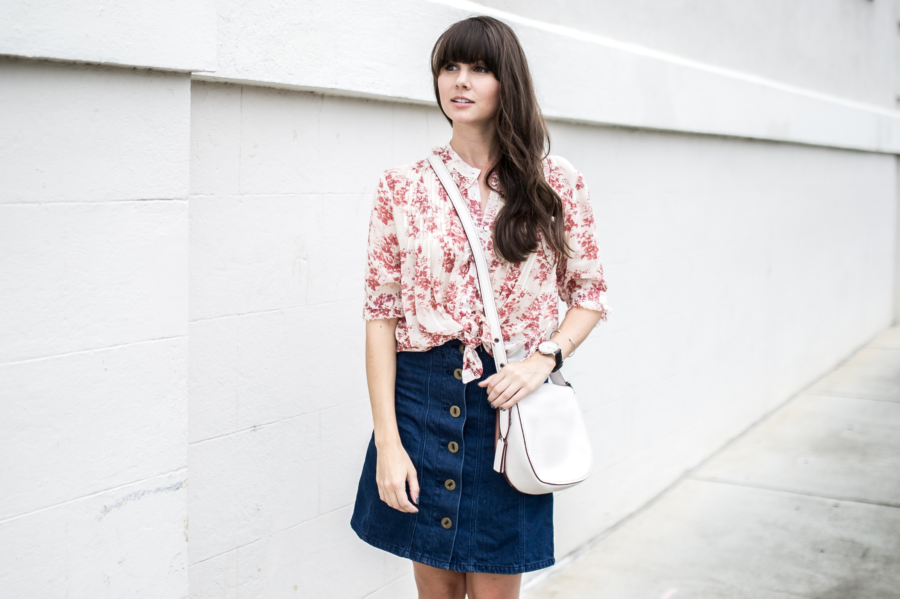 anthropologie denim skirt floral blouse-2