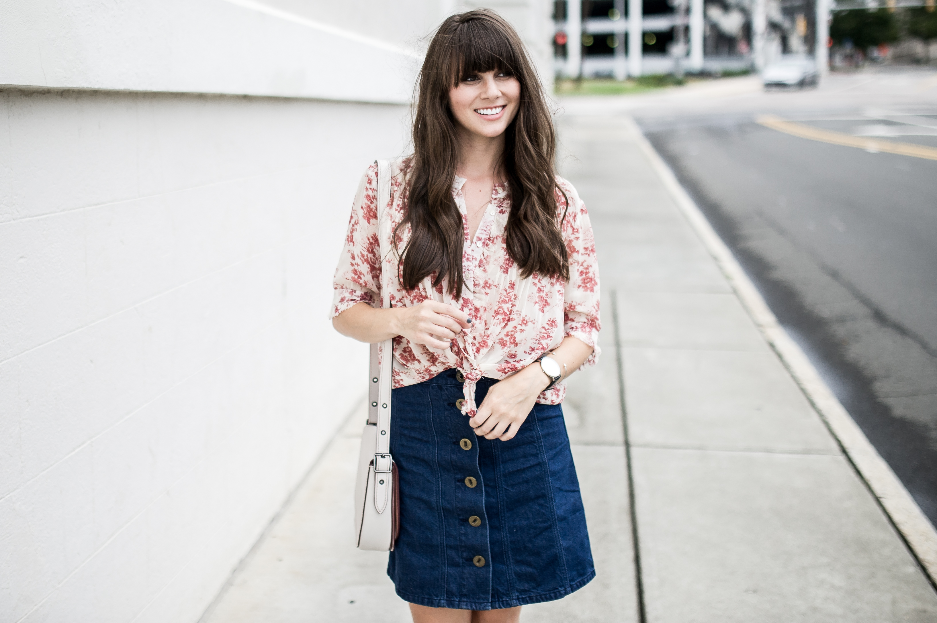 anthropologie denim skirt floral blouse-3
