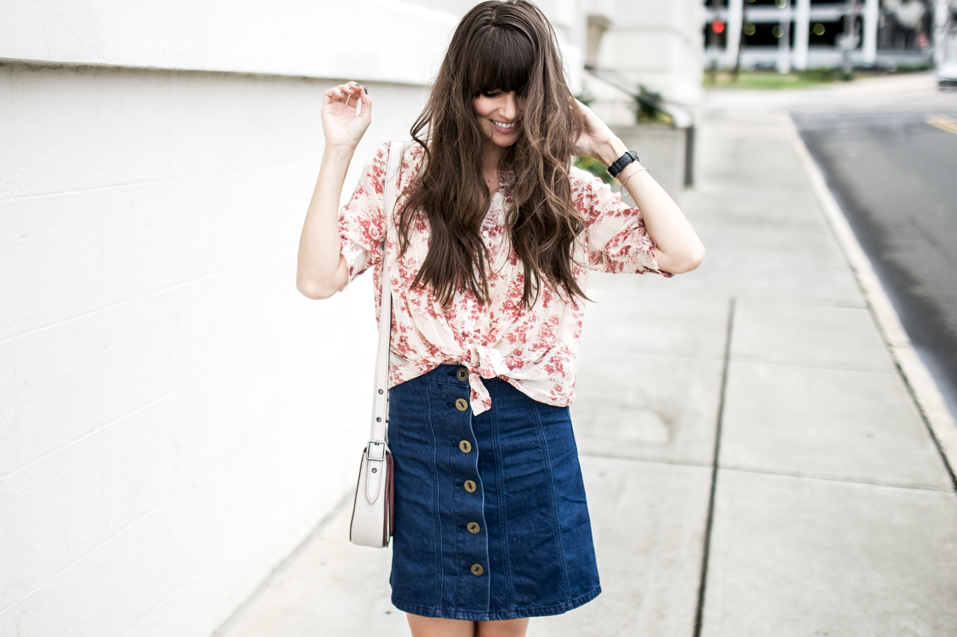 anthropologie denim skirt floral blouse-4
