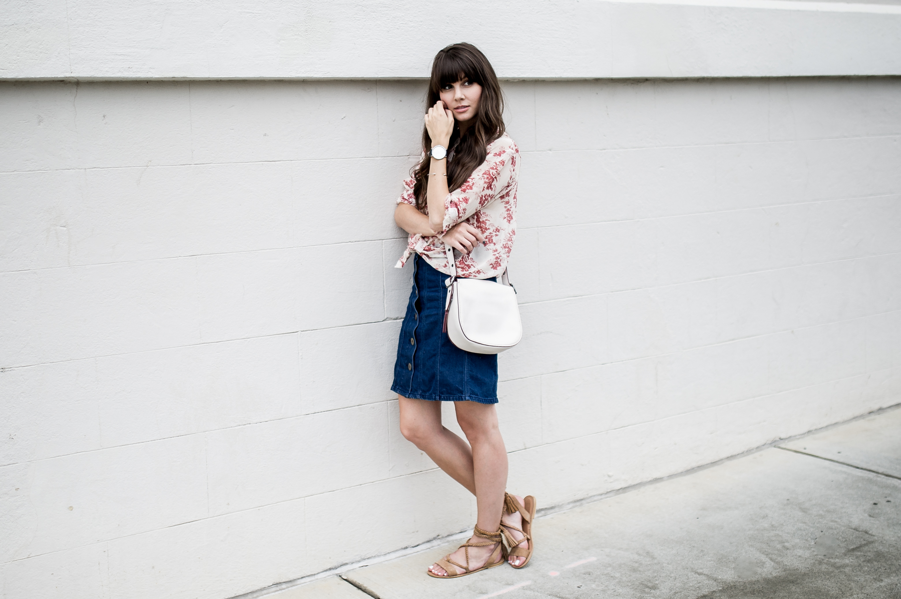 anthropologie denim skirt floral blouse