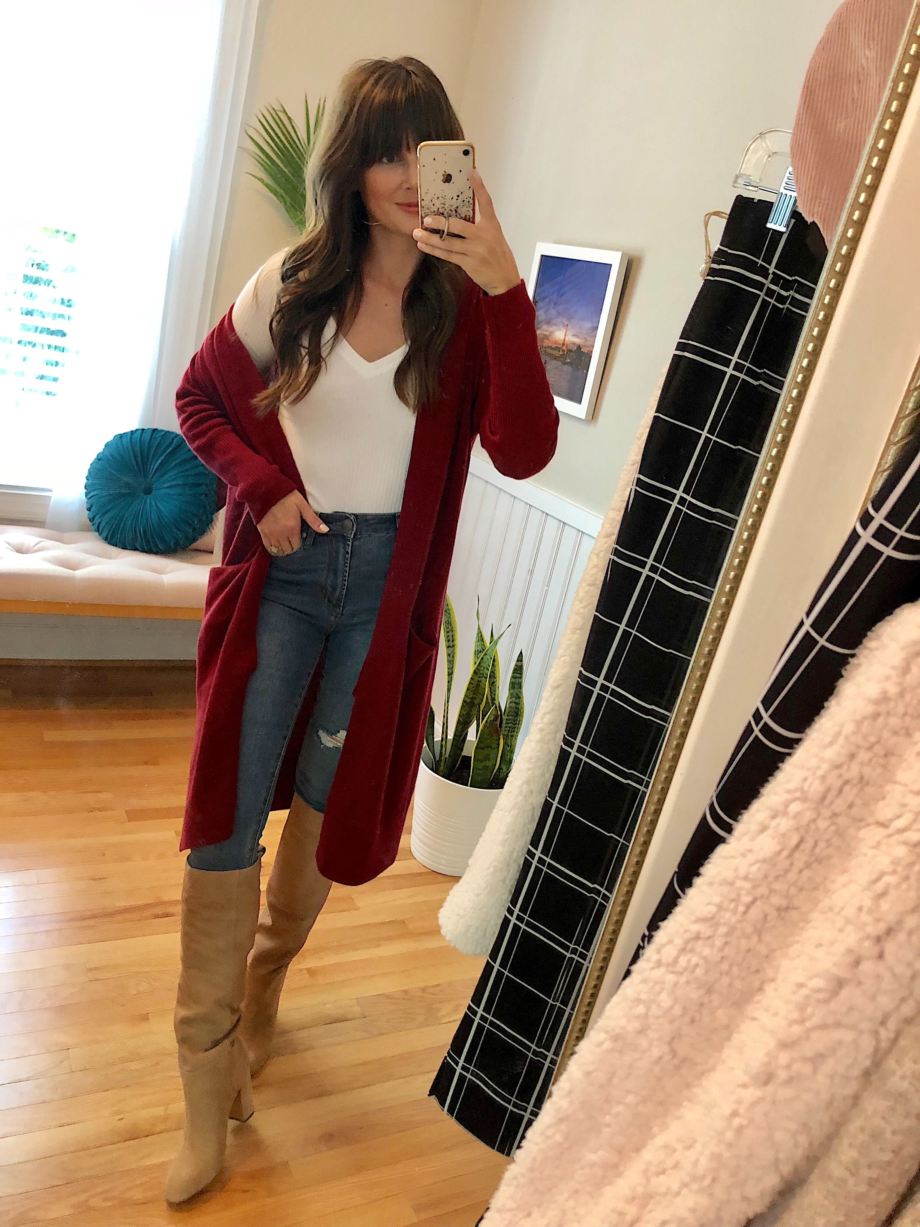 967e7c00460 Ribbed V-Neck Tee    Articles of Society High Waist Distressed Skinny Jeans     Sam Edelman Caprice Knee-High Boot