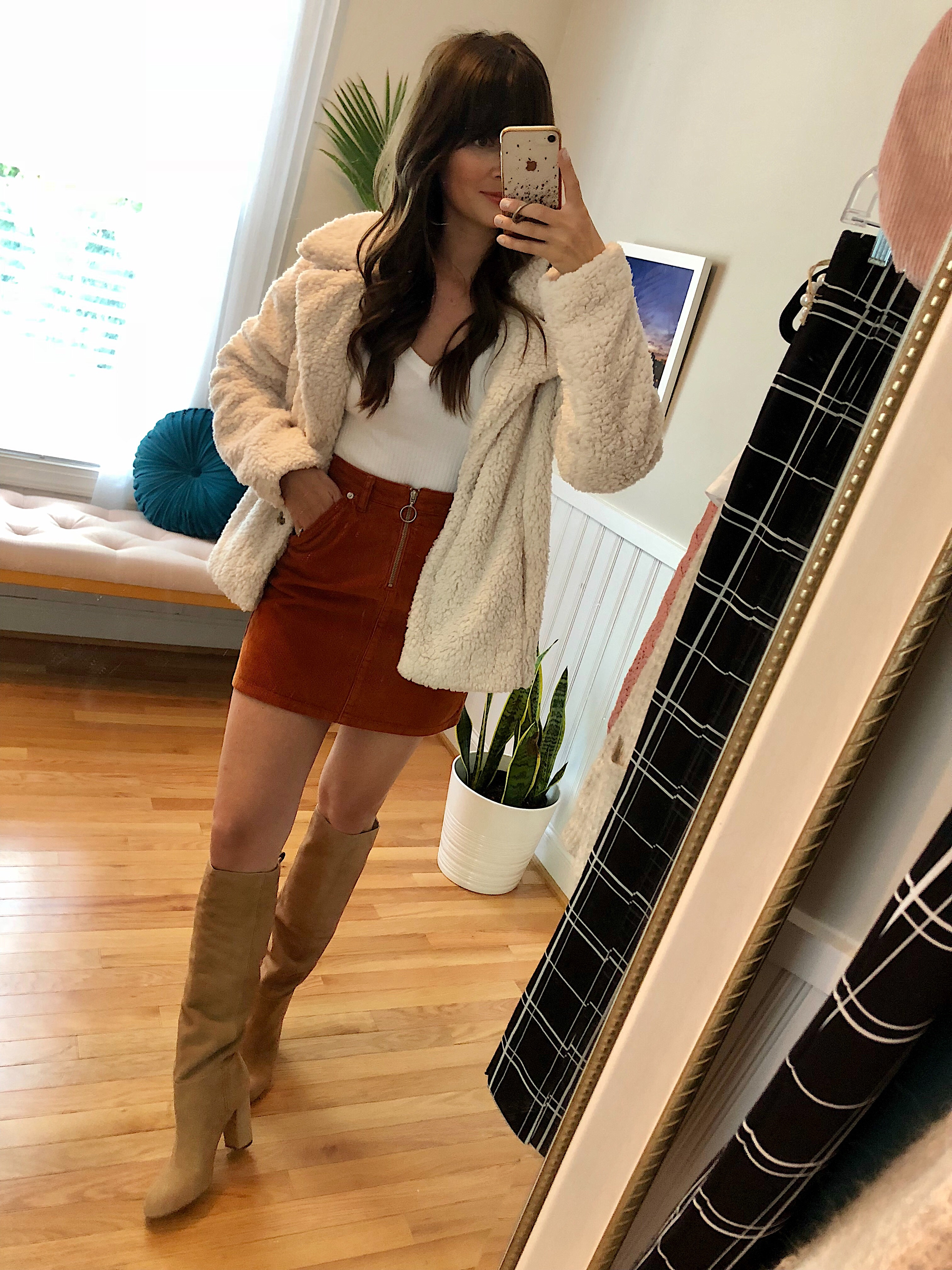 309368faad0 It also comes in black. Carlson Faux Shearling Jacket    BP. Ribbed V-Neck  Tee    Topshop Cord Mini Skirt    Sam Edelman Caprice Knee-High Boot