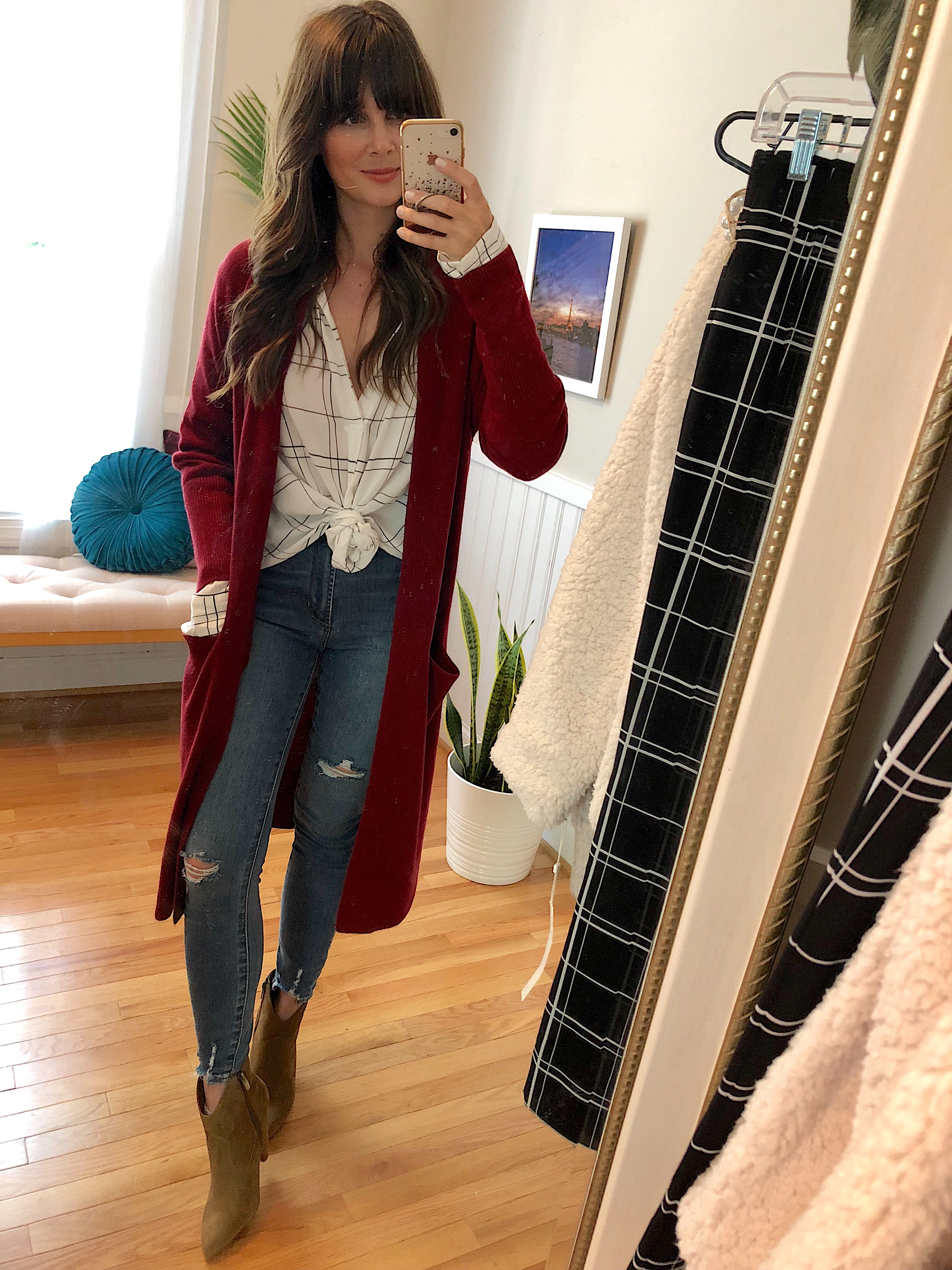734c948dfd2 Leith Henley Woven Shirt    Leith Side Split Midi Cardigan    Articles of  Society High Waist Distressed Skinny Jeans    Vince Camuto Movinta Bootie
